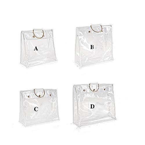 Transparent Dust Bag Clear Purse Organizer Dustproof Handbag Wardrobe Hook Holder (4 Packs)