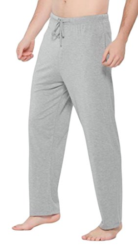 Cromoncent Men Baggy Sport Yoga Waist Drawstring Lounge Straight Pajama Bottom Pants Light Grey M by Cromoncent (Image #2)