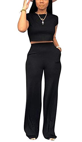 Women Solid O-Neck Short Sleeve Crop Tops High Wairst Flare Long Pants Jumpers 2 Piece Outfits