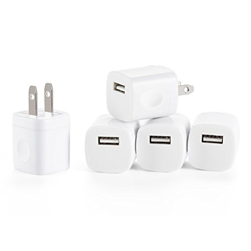 5 Pack Wall (RKINC 5V/1.0AMP 1-Port USB Wall Charger Home Travel Plug Power Adapter [5-Pack] For iPhone 7/7S 6/6s plus 5S 5 4S, Samsung S7 S6 S5 S4 White)