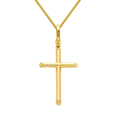 14k Yellow Gold Religious Cross Pendant with 0.9mm Braided Wheat Chain Necklace