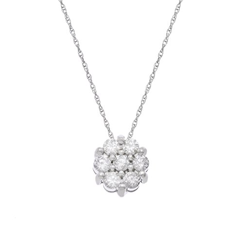 JewelExclusive 10K White Gold 1/2 cttw Natural Diamond Cluster (J-K Color, I2-I3 Clarity) Pendant