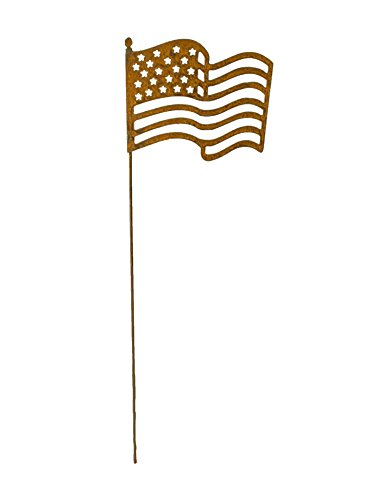 - BLUE LUCA Metal American Flag Garden Stake with Rusty Finish | Made in USA