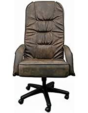 Quattro High Neck Leather Office Chair - Brown