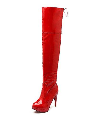 Blanco 5 mujer Punta Stiletto 5 Zapatos Negro Rojo de Vestido Redonda black Botas Cuero eu42 eu42 Patentado Botas uk8 cn43 Tacón a uk4 5 black us10 5 cn37 Moda eu37 la XZZ us10 black Casual 5 us6 5 7 EwXUqfw