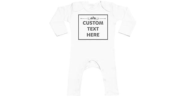 Personalizados bebé Custom Text Box Footless - personalizados peleles para bebé - peleles para bebé niño - peleles para bebé niña - Blanco - 12-18 meses: ...