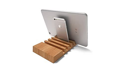 Wooden Multiple Charging Station for iPad, iPhone, Kindle, Galaxy Tab – Holds up to 5 Devices, Engraving and Personalization available