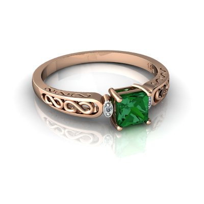 14kt Gold Lab Emerald and Diamond 4mm Square filligree Scroll Ring