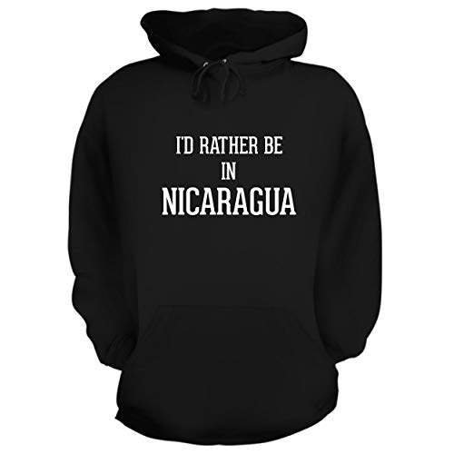 BH Cool Designs I'd Rather Be in Nicaragua - Graphic Hoodie Sweatshirt, Black, Large