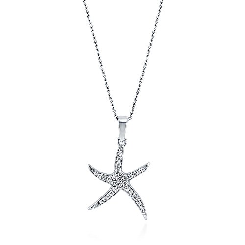 BERRICLE Rhodium Plated Sterling Silver Cubic Zirconia CZ Starfish Fashion Pendant Necklace (Pave Starfish Pendant)
