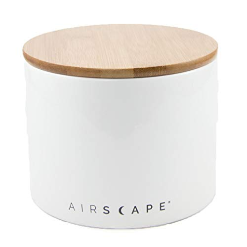 Airscape Ceramic Coffee and Food Storage Canister, 4 Small - Patented Airtight Inner Lid Releases CO2 and Preserves Food Freshness - Glazed Ceramic with Bamboo Top - Snowflake White