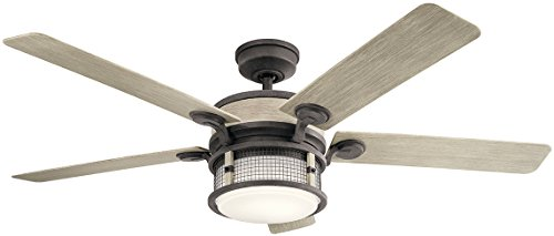 Kichler 310170WZC Ahrendale 60″ Outdoor Ceiling Fan with LED Light & Wall Control, Weathered Zinc