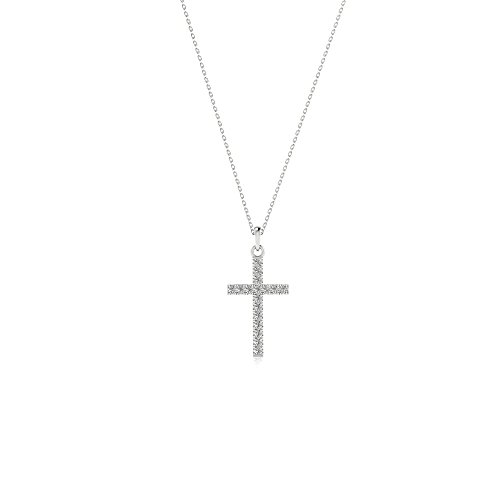 Solid 14k White Gold Natural Diamond Cross Pendant with 925 Silver Gold Plated Necklace (G-H Color) 18