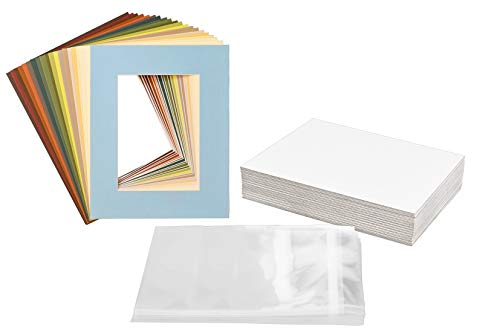 Golden State Art, Pack of 25 Mixed Colors Pre-Cut 8x10 Picture Mat for 5x7 Photo with White Core Bevel Cut Mattes Sets. Includes 25 High Premier Acid Free Mats & 25 Backing Board & 25 Clear Bags