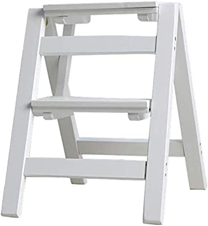YZjk Escalera Plegable de 2 peldaños Escaleras de Tijera de Doble Uso Escaleras Plegables Escaleras de Madera de Pino Escalera Estante de Flores Banco de Zapatos, 38 * 46 * 50 cm (Color: B): Amazon.es: Hogar