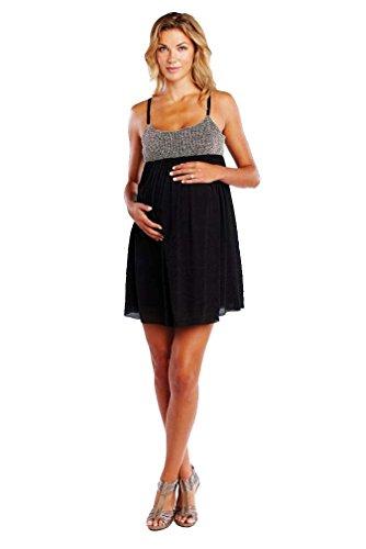 Maternal America Net And Gauze Baby Doll Maternity Dress - Black/Taupe - Medium