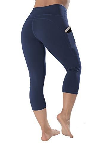 High Waisted Leggings with Pockets - Workout Leggings for Women Stretch Power Flex Yoga Pants - Full Capri Length (Medium, Navy-Capri)
