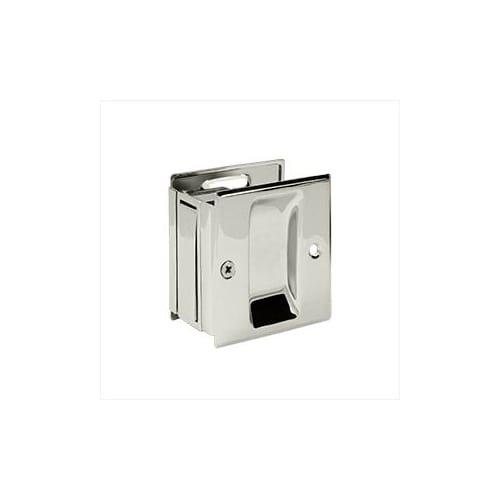 Deltana SDP25 2-1/2'' x 2-3/4'' Solid Brass Adjustable Pocket Door Passage Lock, Satin Nickel