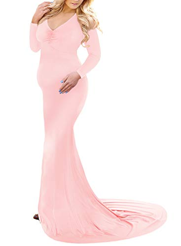 Saslax Long Sleeve Ruched Maternity Gown Slim Fit Maxi Photography Dress Pink X Large