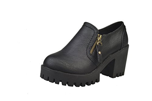 LEIT YFF Christmas gifts Female Martin Boots round head rough heel bare boot side zipper Waterproof Black awLAx90rj
