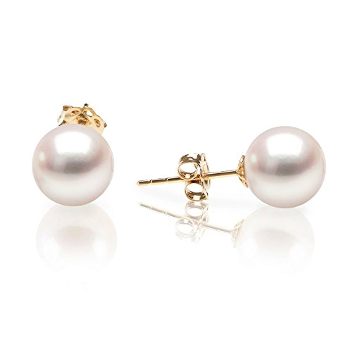 PAVOI 14K Yellow Gold Japanese AKOYA Cultured Pearl Stud Earrings - Handpicked AAA+ 4mm