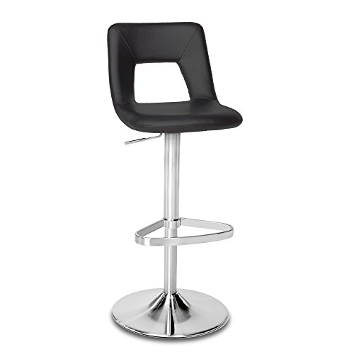 Zuri Furniture Black Jazz Adjustable Height Swivel Armless Bar Stool