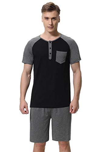 Sykooria Mens Lightweight Cotton Soft Short Sleeve Pajamas Set Sleepwear Loungewear Dark ()