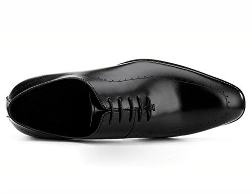 Herren Lederschuhe Spring Leather Shoes Männer Business Formelle tragen spitzen britischen Stil Herrenschuhe männlich Herrenschuhe ( Farbe : Schwarz , größe : EU44/UK8.5 ) Schwarz