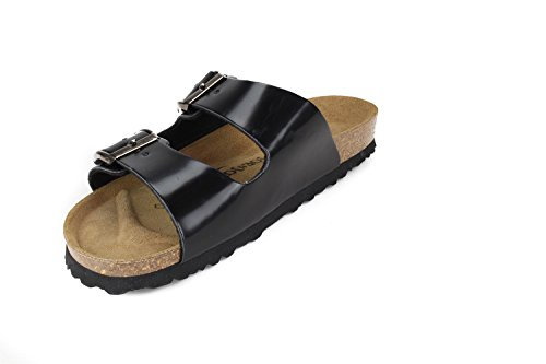 SynSoft London JOE Soft Women Metallic Narrow Black N Slippers Sandals Footbed JOYCE Ww11qF07T