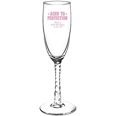 Personalized Color Printed Twisted Stem Champagne Flute Forever Together Pink 48 Pack