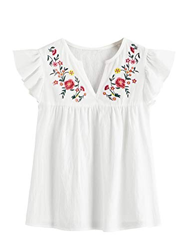 Floerns Women's Summer Floral Embroidered Striped Blouse Tops White XS