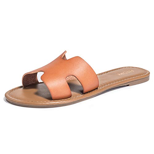 FITORY Womens Flat Sandals Slides Open Toe Slip On Shoes for Summer Orange