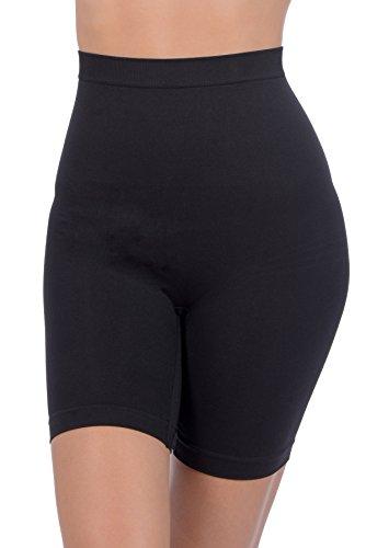 Patricia Lingerie Women's Anti-Bacterial Fabric Hi-Waist Shapewear Shorts (Black, L)