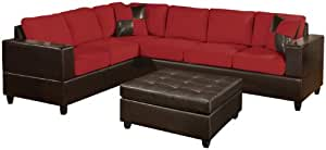 Bobkona Trenton 2-Piece Sectional Sofa with Accent Pillows, Red