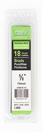 Brad Nail 5/8 - Grex Power Tools GSB18-15 18 Gauge Stainless Steel 5/8-Inch Length Brad Nails (1,000 per Pack), 5/8