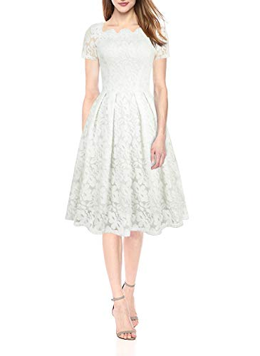 Yanmei Women's Floral Lace Overlay Dress Scalloped Neckline Lace Dress White Small 1085-5 ()