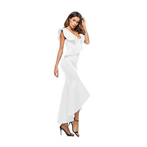 ... Zarupeng Damen Elegant Partykleid Ärmelloses Rüschen Unregelmäßigen  Kleid Abendkleider Weiß M63pby8 ... c4e95b7d82