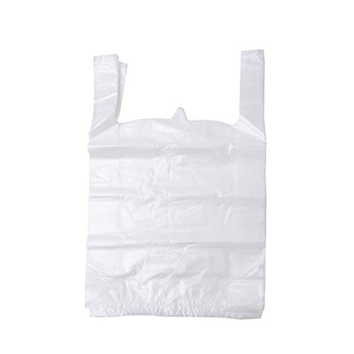 LazyMe 12 x 20 inch White Plastic Thick T Shirt Bags, Handle Shopping Bags, Multi-Use Large Size Merchandise Bags, White Plain Grocery Bags, Durable (100) by LazyMe