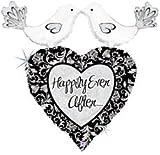 "Love Birds Damask Black White Bridal Wedding Shower Party 34"" Mylar Foil Balloon"