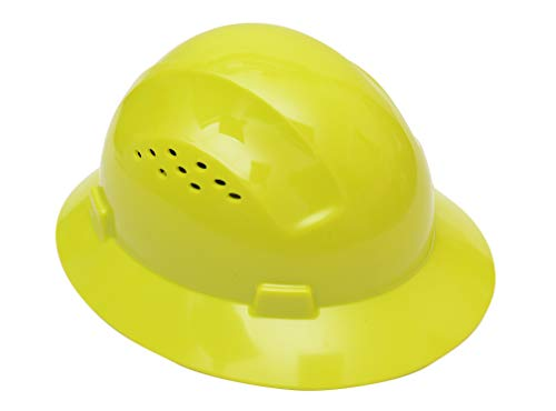 CJ Safety Full Brim Hard Hat with Fas-Trac Suspension - Vented (Lime...