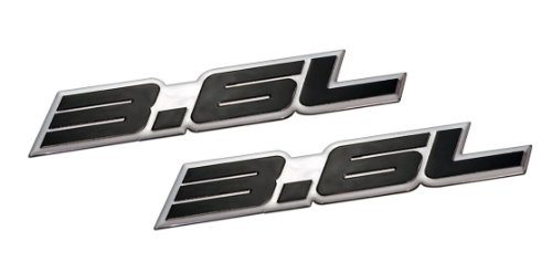 2 x (pair/set) 3.6L Liter Embossed Black on Highly Polished Silver Real Aluminum Auto Emblem Badge Nameplate for Chevy Chevrolet Impala Traverse Camaro LLT LFX VVT GM General Motors Cadillac XTS CTS SRX STS Ferrari 360 Audi Q7 Pontiac G8 Subaru Legacy Outback Tribeca
