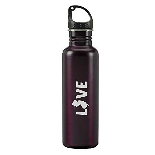 New Jersey-State Outline-Love-24-ounce Sport Water Bottle-Burgundy