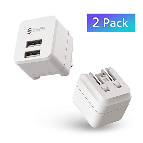 Syncwire USB Wall Charger [2-Pack], Dual Port 12W/2.4A Power Adapter Charging Cube with Foldable Plug for Apple iPhone Xs/XS Max/XR/X/8/7/7 Plus/6S/6S Plus, iPad, Samsung S9/S8, HTC, Moto, LG & More