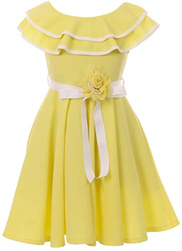 BNY Corner Big Girl Off Shoulder Ruffle Easter Party Wedding Summer Flower Girl Dress USA Lemon 10 JKS 2128
