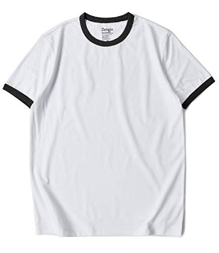 Zengjo Mens Athletic Shirts Ringer Tee Short Sleeve Crew Neck T Shirt (M, White/Black) ()