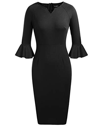 Women Vintage Tunic Wear to Work Business Casual Party Pencil Dress Black 2 XL from ANGGREK