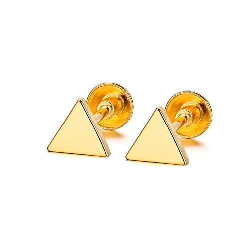 18K Real Gold Triangle Stud Earrings Solid Gold Stud Earring Triangle Earrings for Girls Women Kids -
