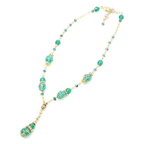 ベネチアンガラス ネックレス ゴールデン・ドット(グリーン) キアラ・デザイン イタリア製 ベネチアングラス