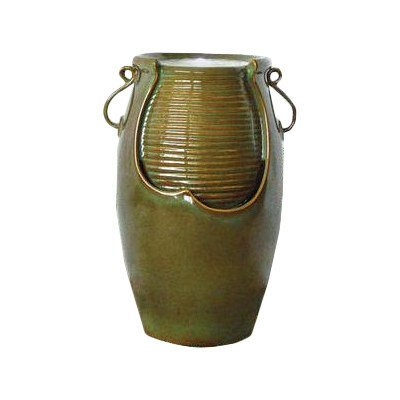 Water Fountain with LED Light - Ceramic Rippling Water Jug Garden Decor Fountain - Outdoor Water Feature