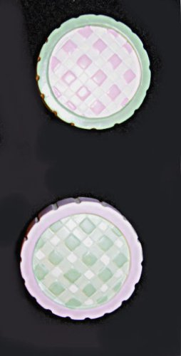 Pulls Drawer Gingham - Two Pink & Green GINGHAM Drawer Pulls KNOBS Home Decor